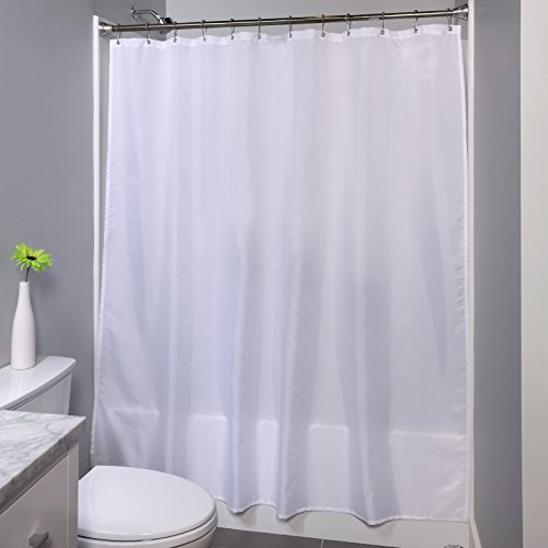 SlipX Solutions Soft White Fabric Shower Curtain Liner Works As Or 70 X 72 Mildew Resistant Highly Water Woven