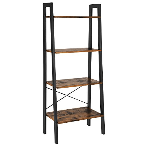 VASAGLE Industrial Ladder Shelf, 4-Tier Bookshelf, Storage Rack Shelves, Bathroom, Living Room, Wood Look Accent Furniture, Metal Frame, Rustic Brown ULLS44X