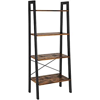 VASAGLE Vintage Ladder Shelf 4 Tier Bookshelf Storage Rack Unit Bathroom