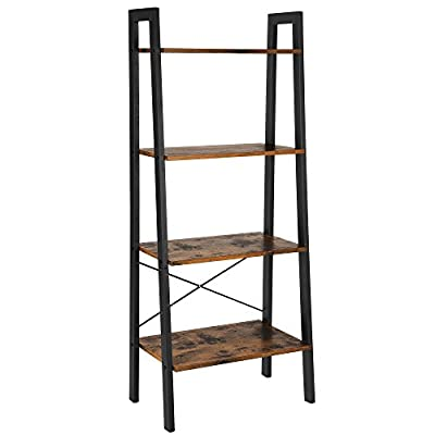 VASAGLE Vintage Ladder, 4-Tier Bookshelf, Storage Rack Shelf Unit, Bathroom, Living Room, Wood Look Accent Furniture Metal Frame ULLS44X - BUILT FOR EXTENDED USE: Sturdy metal for the frame and durable chipboard for shelving; reinforced by crossbar on the back; this ladder bookshelf is quite solid and has long service life 4-TIER OPEN SHELVES: Rustic ladder shelf provides ample space while making full use of the limited space, perfect for storing any items you want to collect and display STABLE FOR SAFE USE: 4 protective caps on the bottom to ensure wooden ladder shelf stands stably while protecting your floor from scratches; comes with anti-toppling fittings to anchor it to the wall for safe use - living-room-furniture, living-room, bookcases-bookshelves - 41Da1Ow2ZkL. SS400  -