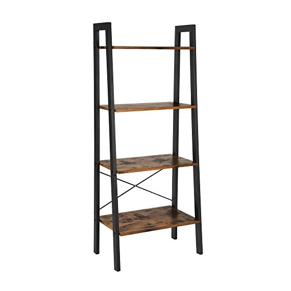 VASAGLE Industrial Ladder Shelf, 4-Tier Bookshelf, Storage Rack Shelves, Bathroom, Living Room, Wood Look Accent Furniture, Metal Frame, Rustic Brown ULLS44X - Built for extended use: Sturdy metal for the frame and durable chipboard for shelving; reinforced by crossbar on the Back; this ladder bookshelf is quite solid and has long service life 4-Tier open shelves: rustic ladder shelf provides ample space while making full use of the limited space, Perfect for storing any items you want to collect and display Stable for safe use: 4 protective caps on the bottom to ensure wooden ladder shelf stands stably while protecting your floor from scratches; Comes with Anti-toppling fittings to anchor it to the Wall for safe use - living-room-furniture, living-room, bookcases-bookshelves - 41Da1Ow2ZkL. SS570  -
