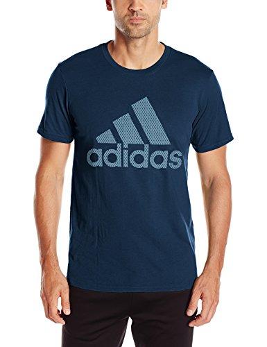 adidas Men's Badge of Sport Pattern Logo Tee, Collegiate Navy/Metal Mesh, Large