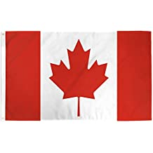 Canada Flag, Canada Flag 3x5, Canadian Flags, Canadian Flag - 100% Polyester Canadian Flag By ByFlo - Lightweight, 3'x5', 100% Polyester, Silk Printed, Bright And Vivid Colors, Brass Grommets, Canadian Pride