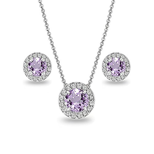 (Sterling Silver Amethyst and White Topaz Round Halo Necklace and Stud Earrings Set)
