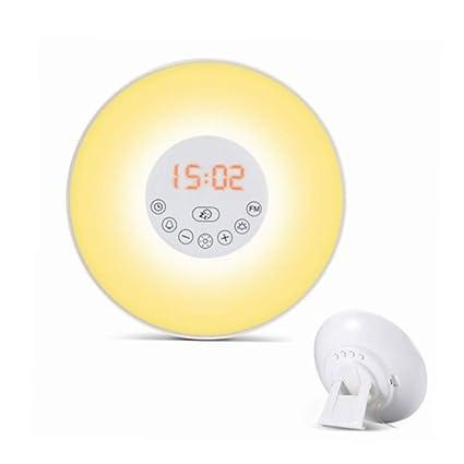 &-MLNR Despertador Amanecer Simulado Luz Natural De Despertador Despertador con Radio Despierta La Luz