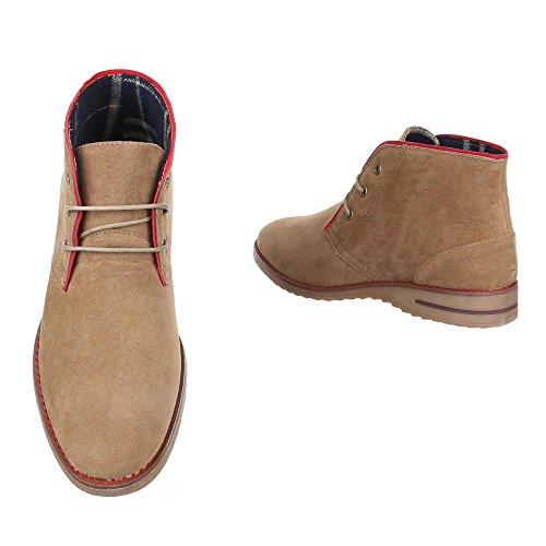 Ital-Design Stiefeletten Herren Schuhe Desert Boots Moderne Schnürsenkel Boots Beige