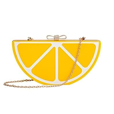 Zarapack Women's Fruit Shape Perspex Box Clutch Evening Handbag (Lemon)