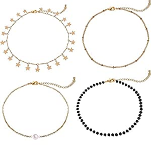 Gold Star Pearl Choker Necklace -4 Pieces Set Dainty Pendant Handmade Necklace for Women Girls … … … … … …
