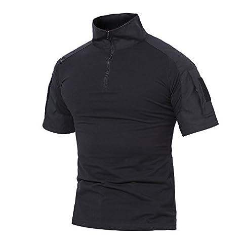 Magcomsen Outdoor Military Combat Slim Fit Shirt Short Sleeve with Zipper - Short Sleeve Zipper