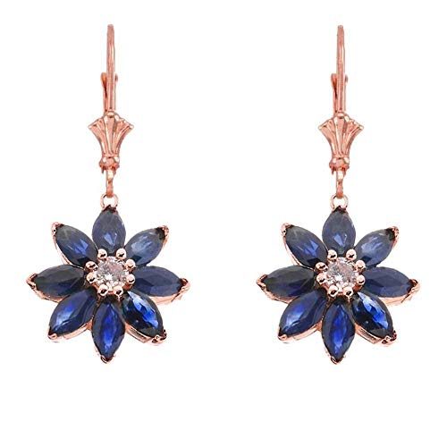 - Exotic 14k Rose Gold Daisy Diamond and Sapphire Flower Leverback Earrings