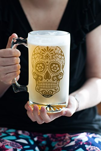 26.5 oz Customizable Beer Mug - Glass Etched Sugar Skull Large Glass Mug - Fully Etched Glass with Clear Base and Handle - Personalized Beer - With Handles Of Glasses Names