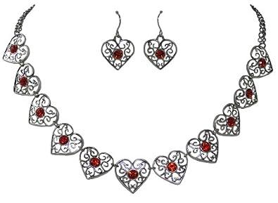Trachtenschmuck Dirndl Kristall Herz mit Edelweiss Trachtenkette Rot
