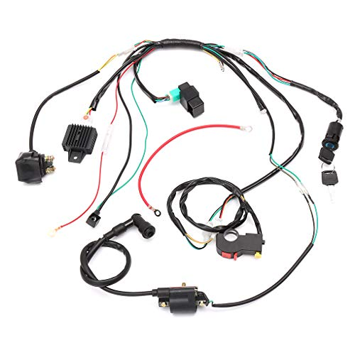Complete Electric Start Engine Wiring Harness Loom Solenoid Coil Regulator 110 125cc Quad Bike ATV Buggy: