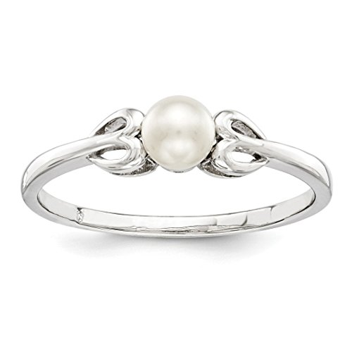 ICE CARATS 925 Sterling Silver Freshwater Cultured Pearl Band Ring Size 6.00 Birthstone June Gemstone Set Fine Jewelry Ideal Mothers Day Gifts For Mom Women Gift Set From Heart (Unique Pearl Rings)