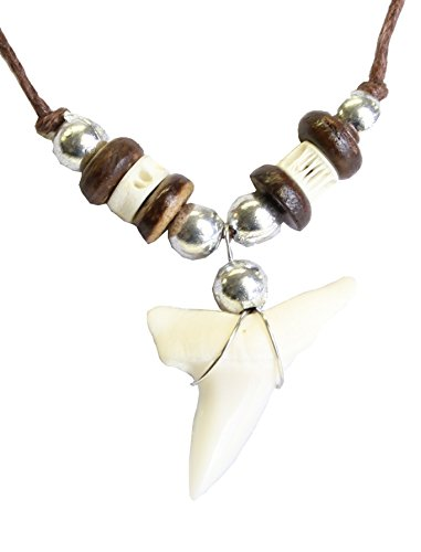 Bone Pendant Brown Cord Necklace with Coco wood Bead - Ajustable - D