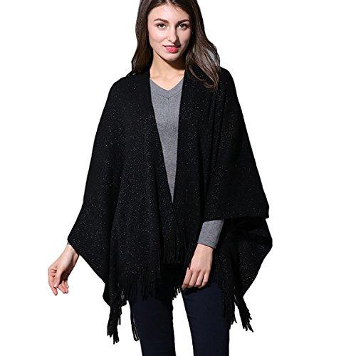 Solid Black Cape (ZISUEX Women Cape Shawl Wrap Fashion Scarf Open Front Poncho Cape Cardigans (Black))