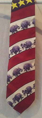 Mike Luckovich Gop Republican Silk Tie Stars Stripes Elephants Red White Blue, Elephant Tie REPUBLICAN NECK TIE Conservative Tie Collectible Elephant Tie