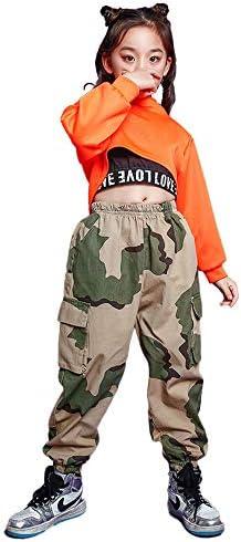 子供 ヒップホップ ジャズダンス 衣装 キッズ ダンス 衣装 ヒップホップ チアガール へそ出し 女の子 男の子 ヒップホップ チェック ダンス衣装 セットアップ 迷彩パンツトップス ストリート ダンスウェア ジャズ hiphop jazz (トップス+パンツ+タンクトップ,180)