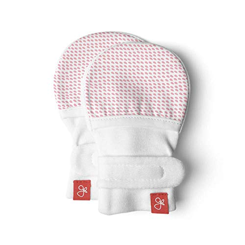 Goumimitts, Scratch Free Baby Mittens, Organic Soft Stay On Unisex Mittens, Stops Scratches and Prevents Germs (0-3 Months, Drops Pink)