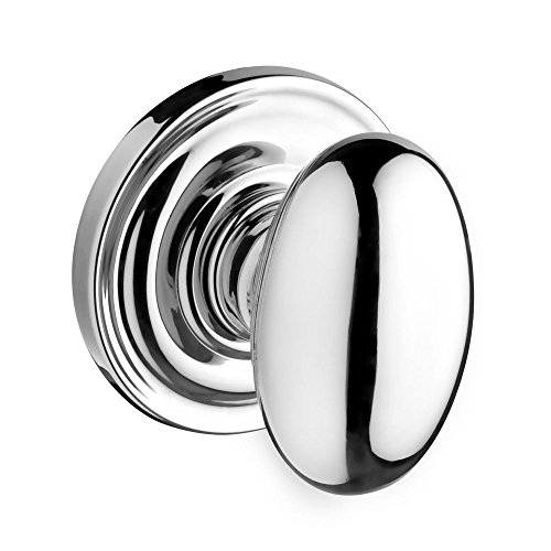 Baldwin HDELLTRR260 Reserve Half Dummy Ellipse with Traditional Round Rose in Bright Chrome Finish