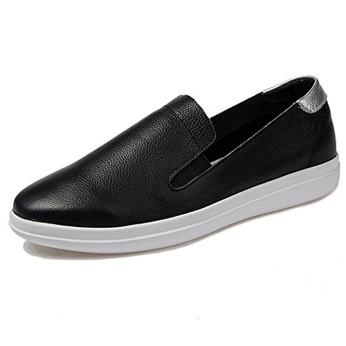 T-july Mocassini Da Donna Scarpe Antiscivolo Punta Tonda Slip-on Elastico Nero