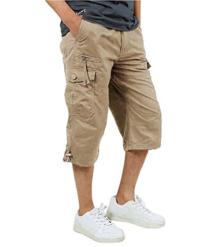 FASKUNOIE Men's Casual Shorts Relaxed Fit Loose 3/4 Cargo Shorts Autumn Work Business Below Knee Short Pants Pocket ()