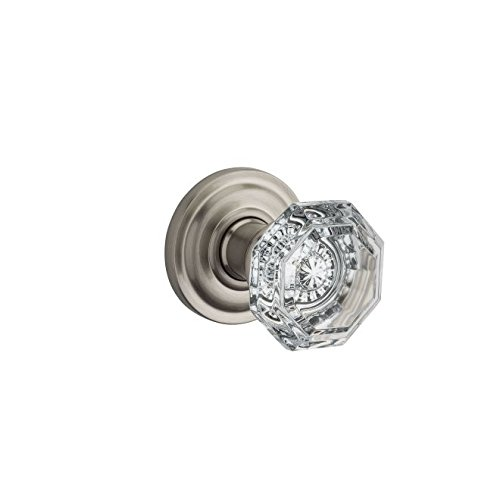 Baldwin Reserve HDCRYTRR150 Half Dummy Crystal Knob and Traditional Round Rose Satin Nickel Finish