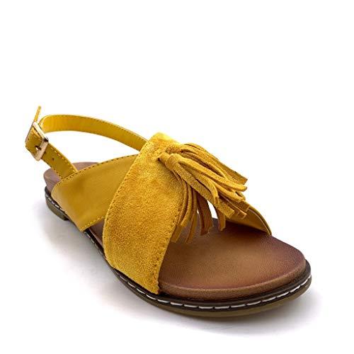 pom Vintage Pom Mode 2 Confortable Plat Angkorly Ouvert Sandale 5 rétro Cm Jaune Femme Talon Chaussure Frange XxASXwqz