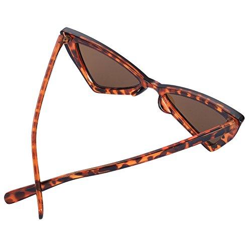 Leopardo sol de graduadas rojo Triangle Gafas Sunglasses de Gafas mujer SODIAL Vintage 1Zwqgx