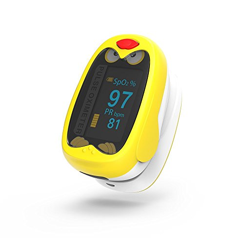 Children Fingertip Pulse Oximeter Blood Oxygen Saturation Monitor with Rechargeable Lithium Battery for Kids - Yonker K1(Yellow)