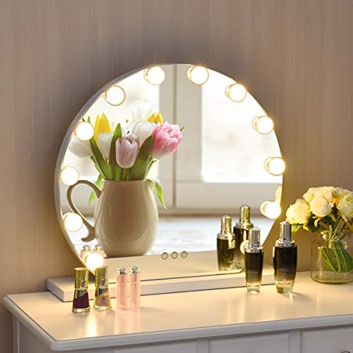 Tangkula Round Hollywood Mirror with Lights, Makeup