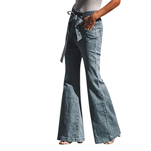 Women Autumn Elastic Plus Loose Denim Bow Casual Boot Cut Pant Jeans ()