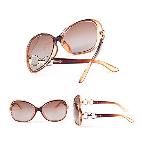 VeBrellen Luxury Transparent Women's Polarized Sunglasses Retro Eyewear Oversized Square Frame Goggles Eyeglasses (Transport Frame With Dark Brown Lens, 60) by VeBrellen (Image #3)