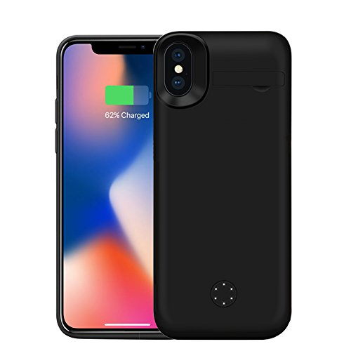 more photos 49c29 b13cc iPhone X Battery Case, ZTESY iPhone X 5000mAh Support Lightning Port  Headphones Extended Battery Case Rechargeable Charging Case with Kickstand  for ...