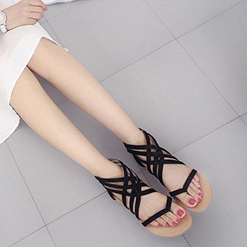 Noir bohème sangle Sandales chaussures talons gladiateurs chaussures féminines GreatestPAK à flops plates gPwAUwxq