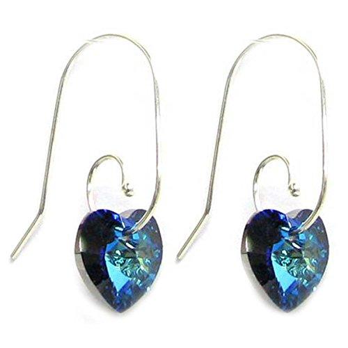 Blue Bermuda (Sterling Silver Swirl Hook Swarovski Elements Crystal Bermuda Blue Heart Drop Earrings)