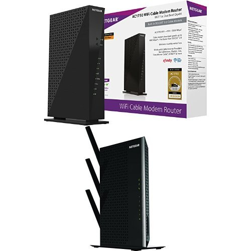 NETGEAR AC1750 (16x4) Wi-Fi Cable Modem Router (C6300) DOCSIS 3.0 Certified for Xfinity Comcast, Time Warner Cable, Cox, & more Bundle with NETGEAR Nighthawk AC1900 Desktop WiFi Range Extender (EX7000-100NAS)
