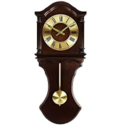 Bedford Clock Collection Wall Clock with Pendulum and Chimes, Chocolate Wood