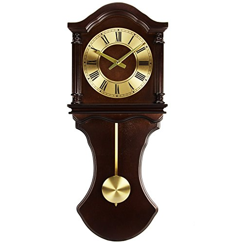 - Bedford Clock Collection Wall Clock with Pendulum and Chimes, Chocolate Wood
