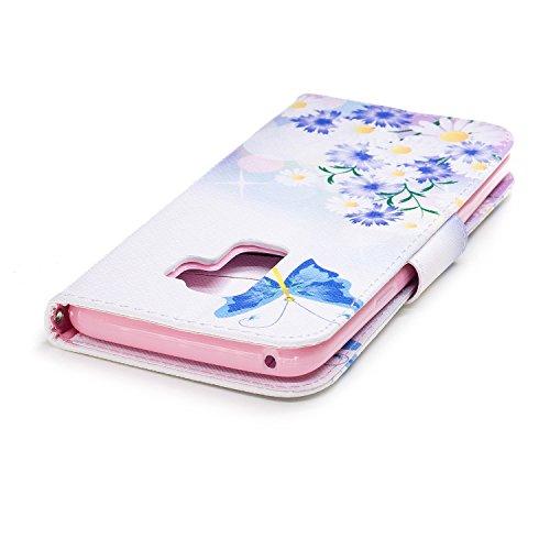 Funda para Samsung Galaxy S9 Plus , IJIA Azul Mariposa TPU + PU Ranuras para Tarjetas de Crédito Flip Folio Caja [Estilo Libro,Soporte Plegable ] Cover Tapa Caso Parachoques Carcasa Cubierta para Sams