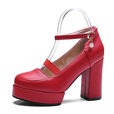 Talones de las mujeres Primavera Verano Otoño Invierno Club de los zapatos de la PU de oficina y carrera del partido y vestido de noche tacón grueso Hebilla Negro Rojo Blanco Red