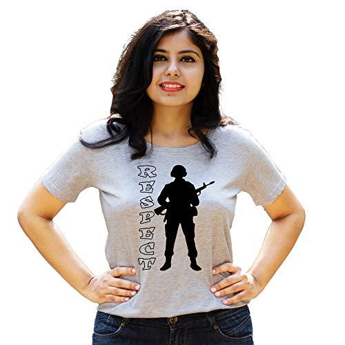 HEYUZE Cotton Girl Women's Half Sleeve Round Neck Soldier Commando Printed T-Shirt