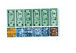 School Smart Money Kit, Bills and Coins with 12 Compartment Plastic Tray, Grades K-4