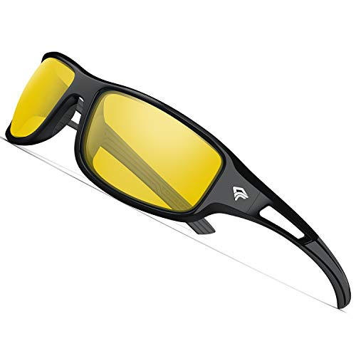 TOREGE Polarized Sports Sunglasses for Men Women Cycling Running Driving Fishing Golf Baseball Glasses GRILAMID TR90 Unbreakable Frame TR03 (Black&Yellow Lens) (Best Lens For Baseball)