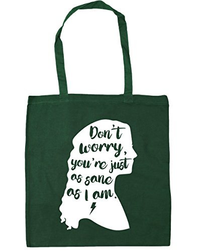 HippoWarehouse Don't Worry You're Just As Sane As I Am Tote Shopping Gym Beach Bag 42cm x38cm, 10 litres Bottle Green