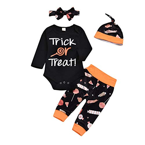 Younger Tree 3PCS Newborn Infant Baby Boys Girls Halloween Pumpkin Romper Top+Pants+Hat Halloween Clothes Set (Black Holleween|, 12-18M)