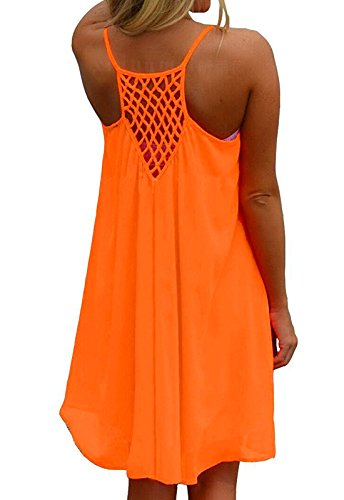 Amstt Womens Summer Sexy Vibrant Color Chiffon Dress Bathing Suit Cover Up (M, Orange)