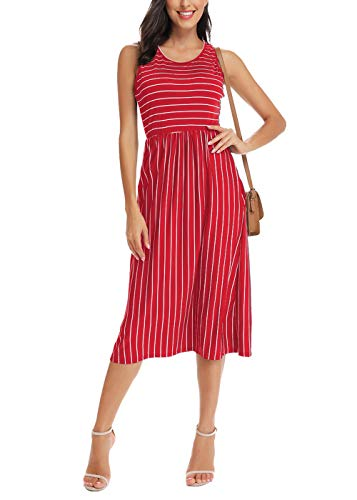 INWECH Womens Casual Red Sleeveless Striped Sun Dresses Cute Long Summer Party Midi Dress (Red, Large) (Stylish Scoop Neck Sleeveless Striped Womens Sundress)