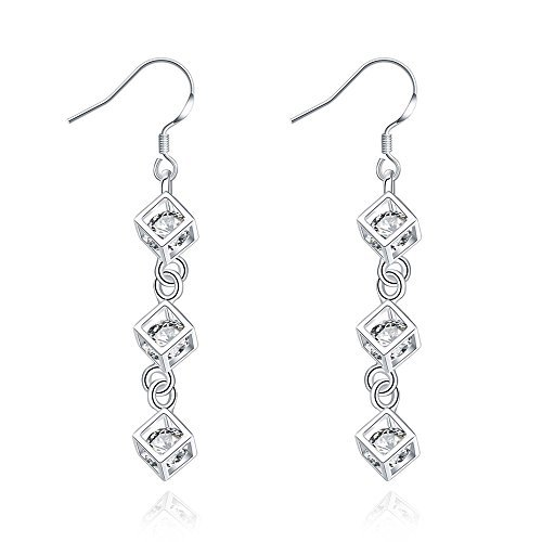 PMANY 925 Sterling Silver Plated Back Earrings,Lattice Jewelry Crystal Icicle Drop Dangle Earrings (Heaven Grid) Plated Costume Fashion Jewelry