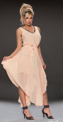 5868 Apricot Abendkleid Cocktail verfügbar in Farben Fashion4Young Damen 4 aus Chiffon Kleid ärmelloses 2Gr rOrpBx0T